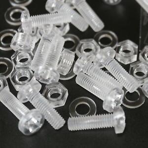 60-x-Acrilico-Bulloni-e-Dadi-M6-x-20mm-in-Plastica-Trasparente-Acrilico-Viti