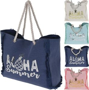 Beach-Bag-Ladies-Large-Holiday-Summer-Shopper-Tote-Rope-Handle-Boho-Look