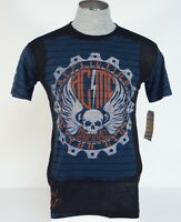 Affliction American Customs Black & Blue Vintage Graphic Tee T Shirt Mens