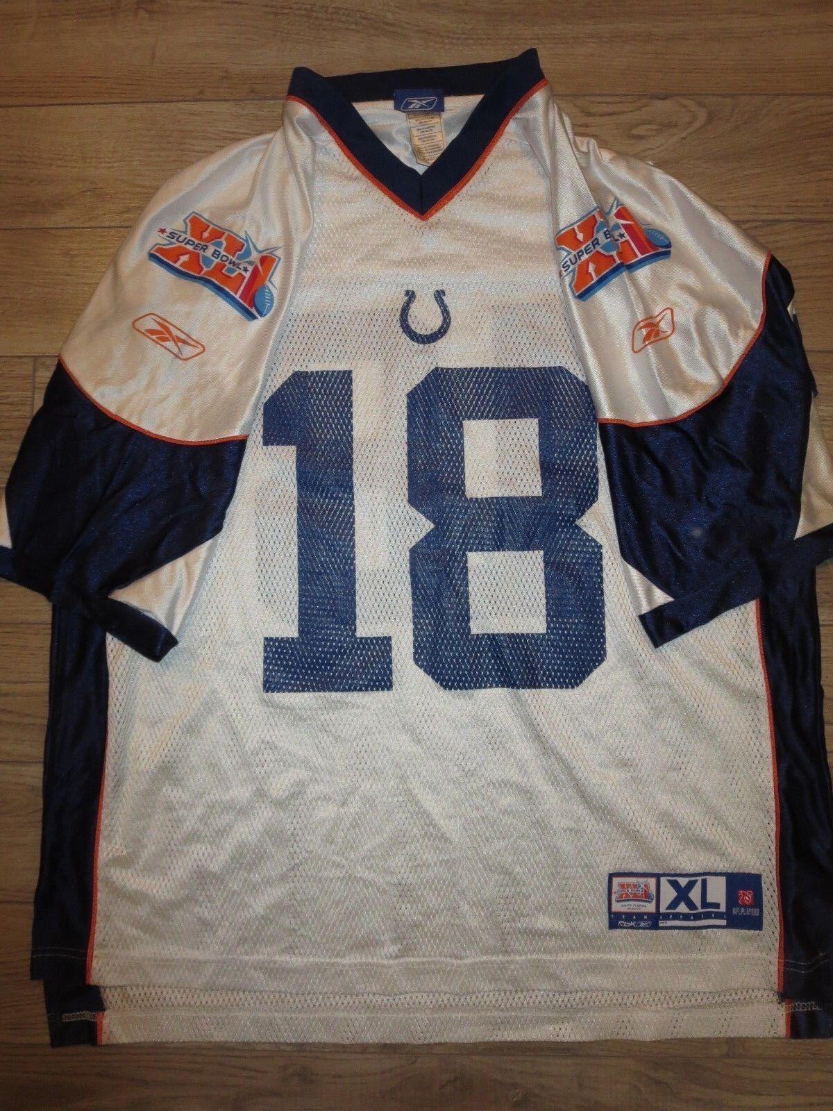 Peyton Manning Indianapolis Colts Super Cuenco de Reebok NFL Camiseta XL