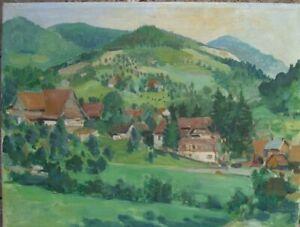 DORF-IN-SCHWABEN-OLGEMALDE-ANTIK-1959-WIDMUNG-LANDSCHAFT-FRUHLING-HAUSER-OL