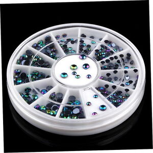 3D-Nail-Art-Tips-300pcs-Crystal-Glitter-Rhinestone-DIY-Decoration-Wheel-aq