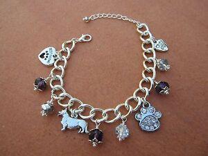 Image Is Loading Pembroke Welsh Corgi Dog Charm Bracelet With Purple