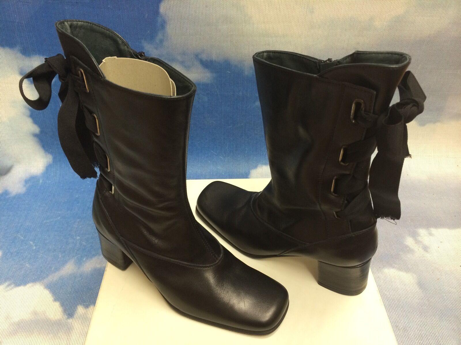 Italian Victorian Style Ribbon Bow Leather Zipper Boot Euro Suze 37 / US Women 7