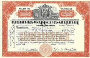 Canario Cuivre Company 1926 Commune Stock Certificat RH3Ku71X-09093429-575014395