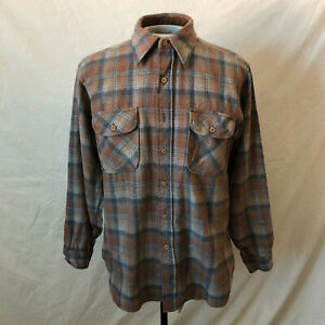 VTG Pendleton Country Traditionals brown and white Plaid wool button down collar shirt
