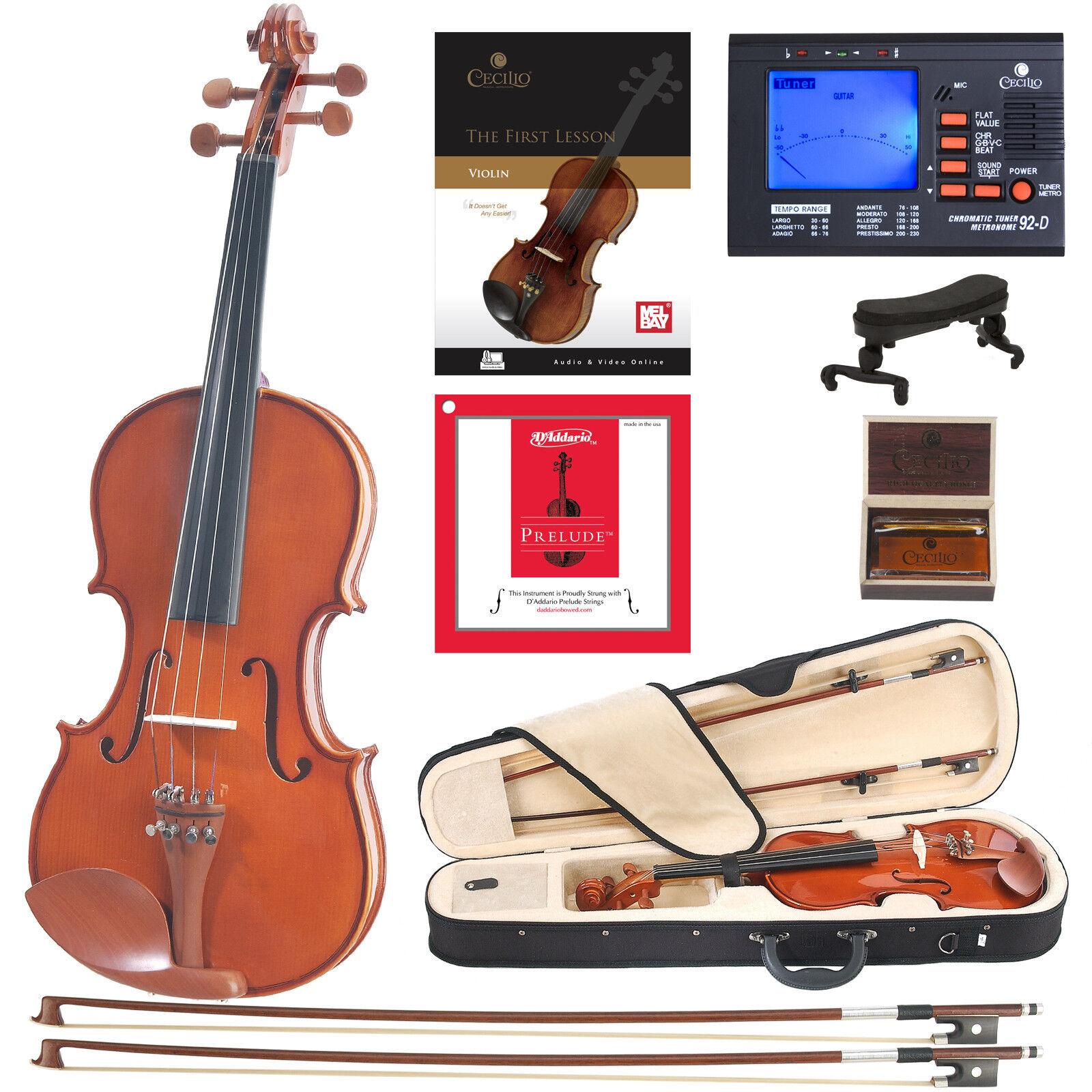 Cecilio CVN-200 Solidwood Violin with D'Addario Prelude Strings, Size 4 4
