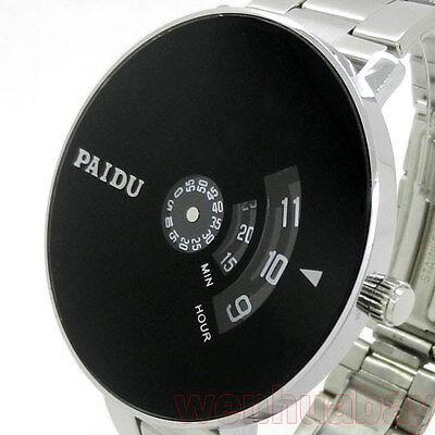 PAIDU Quartz Wrist Watch Silver Band Black Dial Turntable Dial Hours Mens Q0844