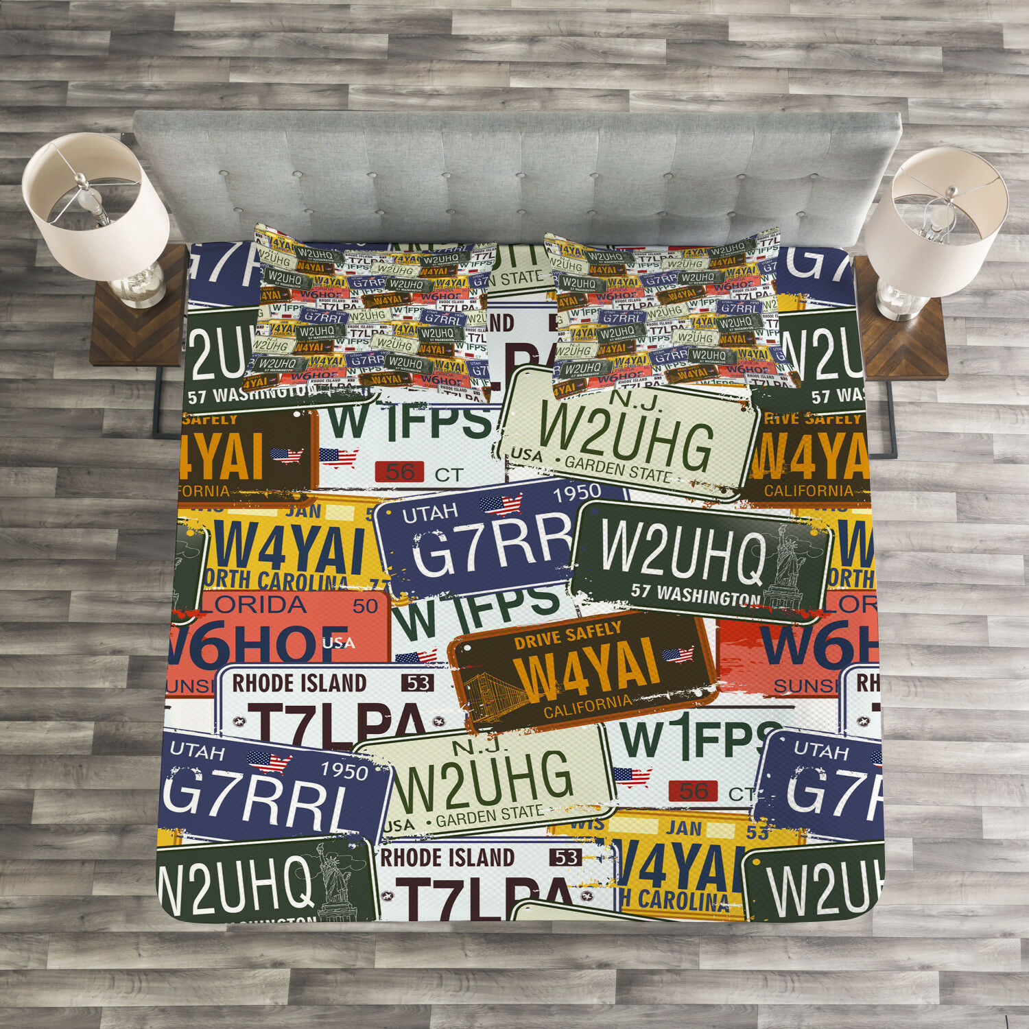USA Quilted Bedspread & Pillow Shams Set, Retro Auto License Plates Print