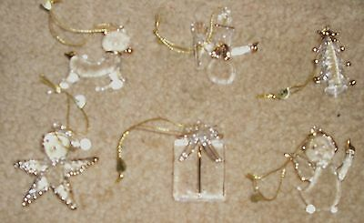 12 Gold Trim Glass Christmas Ornaments Tree Snowman Star Reindeer Angel Present