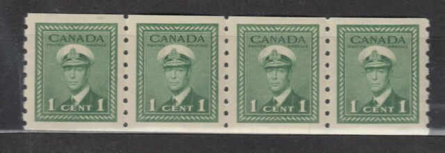 1942 #263 1¢ KING GEORGE VI WAR ISSUE COIL(PERF 8.0) F-VFNH