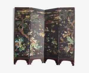 Paravent-laque-coromandel-Chine-Old-laquer-panel-chinese-birds-screen-late-Qing