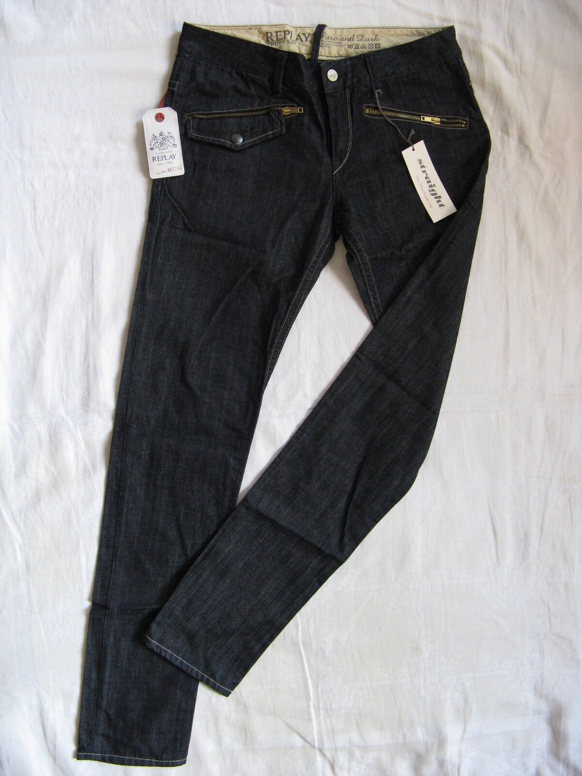 Replay Damen Blau Jeans Denim W29 L32 low waist regular fit straight leg rinsed