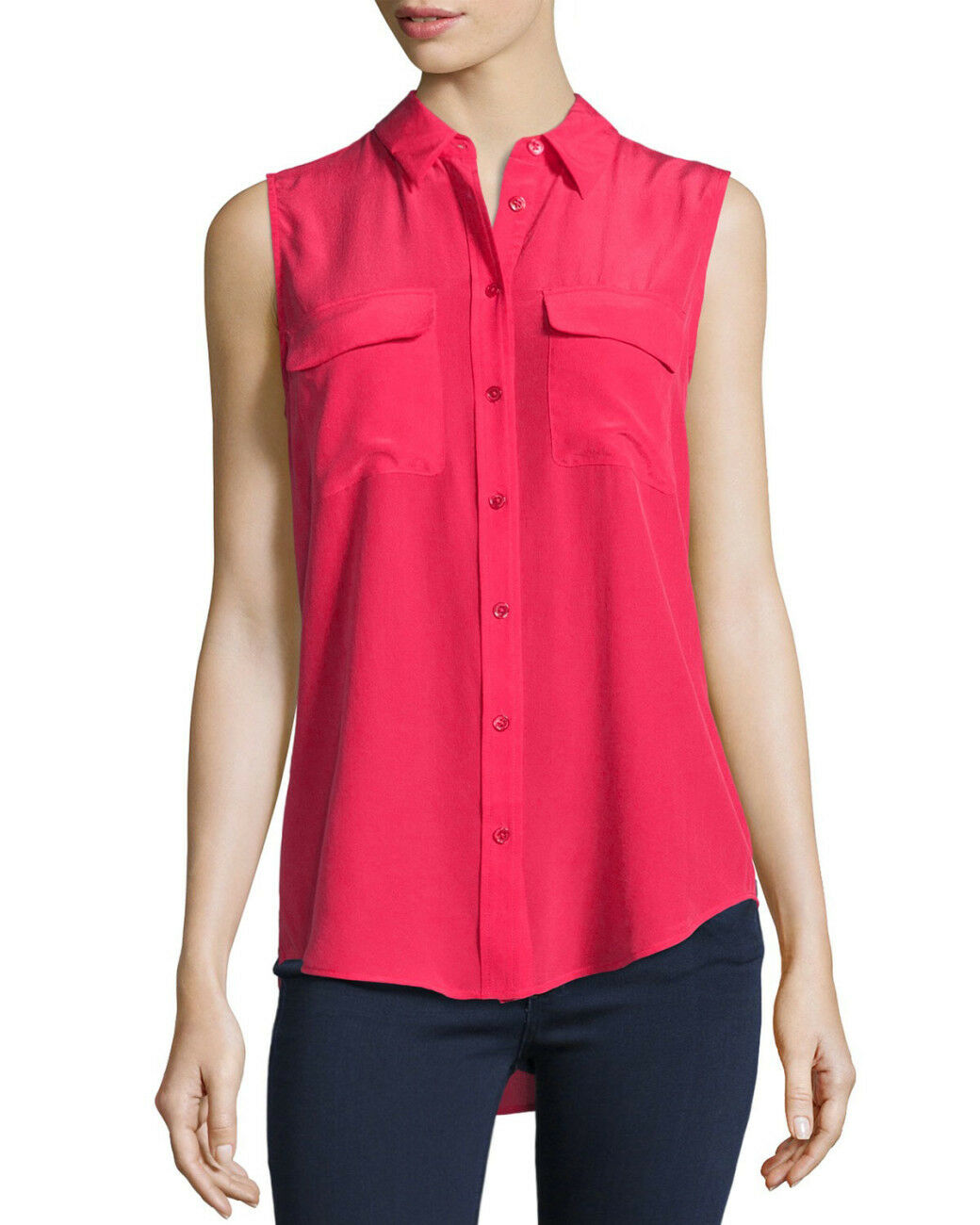 NWT Equipment 100% Silk L Slim Signature Blouse Shirt Sleeveless pinktta
