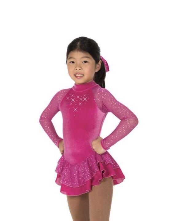 NEW Figure Skating Dress Jerry's 19 Starshine Deep Fuchsia Youth 10-12