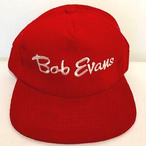 eb103339a15 Image is loading Vintage-BOB-EVANS-Corduroy-Snapback-Hat-Red-Adjustable-