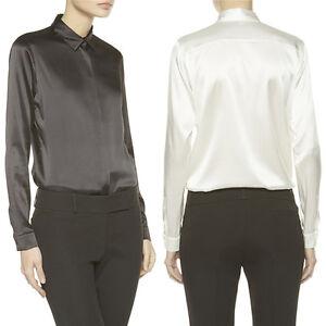 215fa83b24b25 Women New Collared Silk Shirt Blouse Career Formal Business Long ...