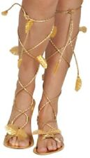 *LADIES FANCY DRESS GOLD SANDALS WOMENS GREEK ROMAN EGYPTIAN CLEOPATRA GODDESS*
