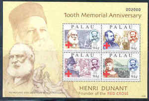 Palau 100th Memorial Anniversray Of Henri Dunant Red Cross Sheet Mint Nh