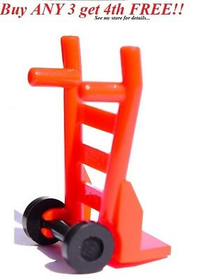 2 LEGO Red Hand Truck Dolly for Minifigure lot new