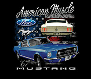 Ford Mustang American Muscle Cars Auto Hot Rat Rod Usa Flag T Shirt
