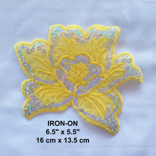 Green Flower Sequined Embroidered Iron-on Blue Lotus Patch Floral Black Applique