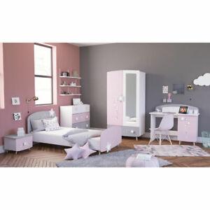 Details zu Kinderzimmer Set Stella Bett Schrank Kommode Schreibtisch in  matt weiß grau rosa