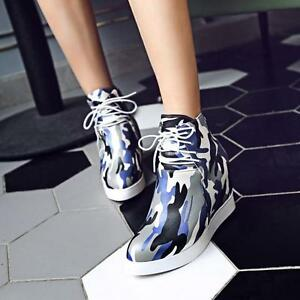 Womens-Ankle-Boots-Hidden-Wedge-Heel-Gothic-Winter-Warm-Camouflage-Shoes-Plus-sz