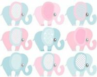 Baby Shower Pink And Blue Elephant Edible Cake Side Toppers (3 Strips)