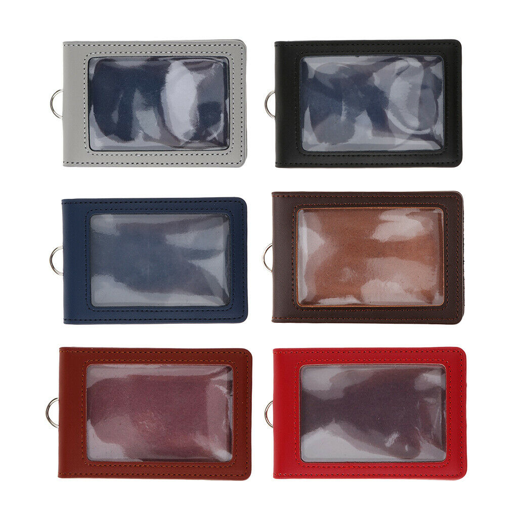 Porte-cartes vertical en cuir PU avec double badge New
