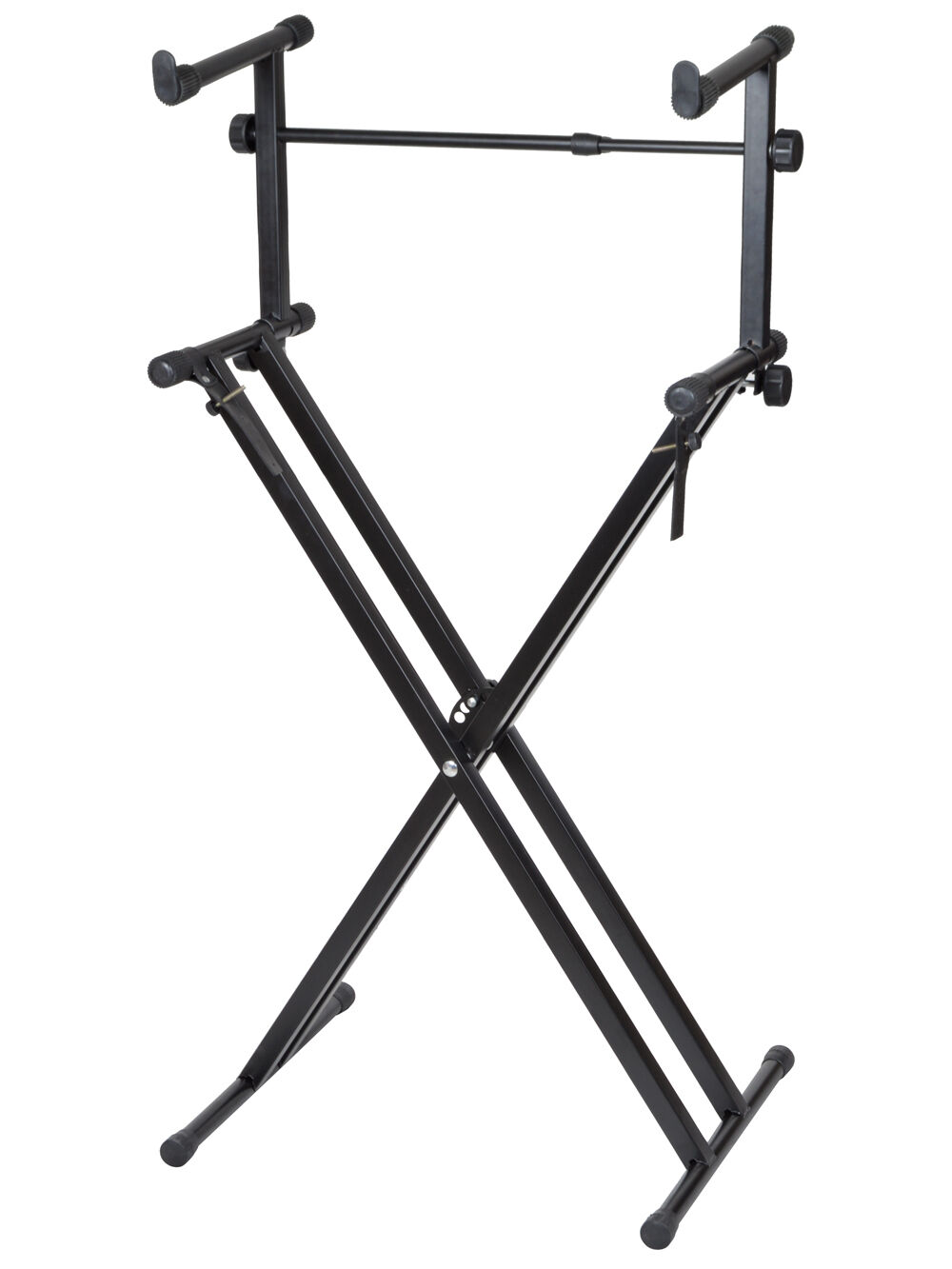 pro adjustable 2 tier x style dual keyboard stand electronic piano double black ebay. Black Bedroom Furniture Sets. Home Design Ideas