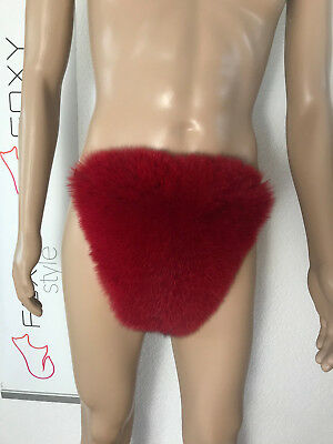 Rex lining. Men/'s Blue fox fur thong bikini.Black