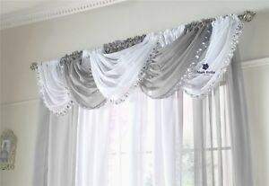 GLITTER-SPARKLY-SILVER-SEQUINS-BLING-GEMS-VOILE-NET-CURTAIN-SWAG-5-SHADES-6-90