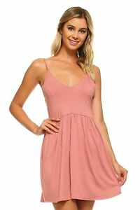 Woman-039-s-Criss-Cross-Back-Skater-Dress-Mini-Solid-Mauve-Size-Small-Free-Shipping