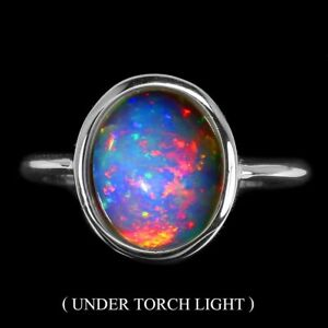Unheated-Oval-Fire-Opal-Rainbow-Full-Flash-11x9mm-925-Sterling-Silver-Ring