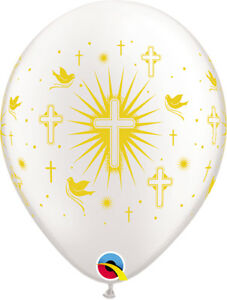 CHRISTENING-BALLOONS-10-x-11-034-QUALATEX-PEARL-WHITE-WITH-GOLD-PRINT-BALLOONS