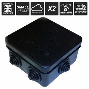 2 x small black plastic junction box