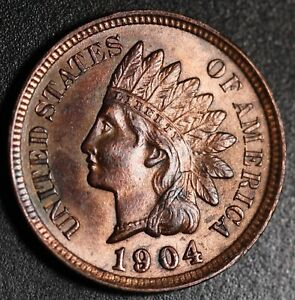 1904-INDIAN-HEAD-CENT-BU-UNC-Details-With-CARTWHEELING-MINT-LUSTER