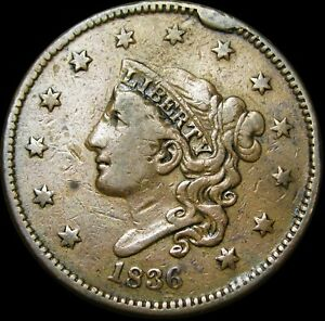 1836 Coronet Head Large Cent Penny CUD  ---- Type Coin  ---- #K249
