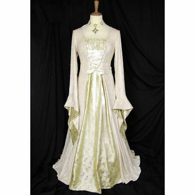 Stunning Ladies Medieval Renaissance Gown Dress Costume Maid Marion stain back