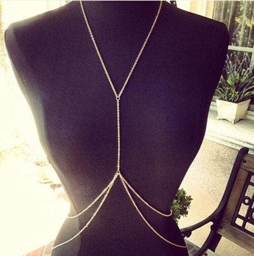 Stunning Sexy Gold Body Belly Waist Bikini Beach Harness Slave Chain Necklace