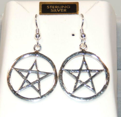 3216 Sterling Silver Large Pentacle Wire Earrings almost 1 inch