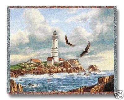 70x54 BOSTON LIGHTHOUSE Ocean Tapestry Afghan Throw Blanket