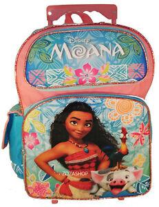 "Disney Moana 16/"" Large School Rolling//Roller Backpack For Girls"
