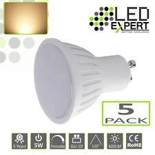 5 x 5W GU-10 LED Bulbs Warm White 5 Year Warranty Super Bright 50w Halogen