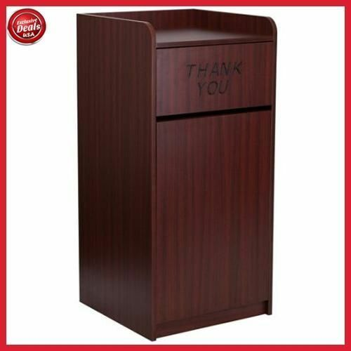 Captivating Commercial Trash Can Restaurant Tray Receptacle Large Garbage Waste Bin  Mahogany