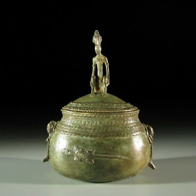 95671) Afrikanische Bronze Deckel-dose Dogon Mali Afrika Kunst Modische Und Attraktive Pakete