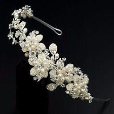 Crystal Pearl Flower Headband Headpiece Tiara Bridal Wedding Accessory 00382 S