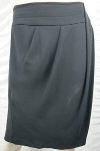VERONIKA-MAINE-black-pleated-knee-length-career-A-line-skirt-size-16-GUC