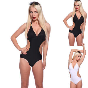 Sexy-CUT-OUT-Monokini-Padded-Swimsuit-slingshot-Swimwear-Halter-Neck-Beachwear